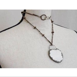 Jewelry - OOAK White Vintage Broken China Pendant Necklace